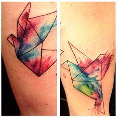 Watercolor origami bird done by Caroline Salinas, tattoo aprentice at MiksTattoo in Copenhagen. TattooStage.com - Ratings & reviews for tattoo artists and studios. #tattoo #tat
