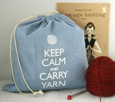 Small knitting project bag Keep Calm and Carry Yarn  by jenniegee, $16.00