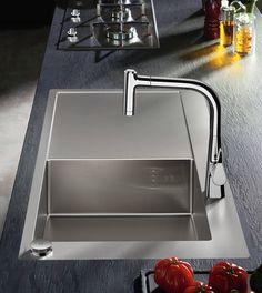 Hansgrohe Select-Spülencombi 450 mit Ablagefläche B: T: 51 cm chrom Küchen Design, Clean Design, A Shelf, Shelves, Portable Humidifier, Pex Plumbing, Single Bowl Kitchen Sink, Kitchen Sinks, Ventilation System