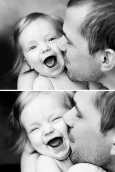 Father and child picture idea. Full view on child's expression while dad kisses..... Kennedy smiles or laughs everytime Daddy kisses her goodnight. Would love to capture it in a photo like this.
