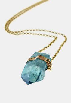 Aqua Aura Crystal Necklace