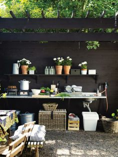 Nice wood wall, sink grey water --- pergola + outdoor kitchen | from the book…