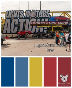 Here are the colors hues of Lights Motors Action sign at Disney's Hollywood Studios in Walt Disney World.