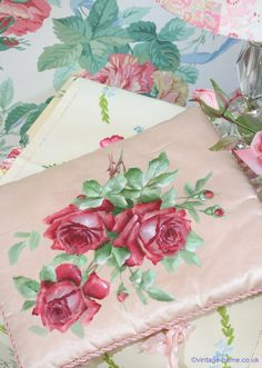 Vintage Home - Hand painted Roses adorn an Edwardian Satin Case www.vintage-home.co.uk