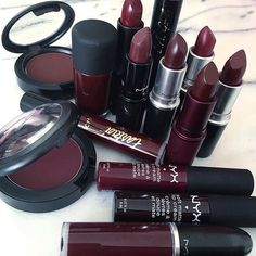 All Red Everything! where to buy this shade to make your Fall/Winter make up dreams come true! All Red Everything! where to buy this shade to make your Fall/Winter make up dreams come true! Fall Makeup, Love Makeup, Makeup Inspo, Red Makeup, Makeup Style, Makeup Art, Dark Lipstick, Lipstick Colors, Maroon Lipstick