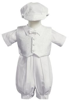 Lito Baby Boy White Poly Cotton Christening Baptism Romper Set with Vest and Hat