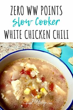 This zero-point WW Slow Cooker White Chicken Chili is full of earthy Mexican flavors and the perfect soup for Gameday, weeknight dinners, winter nights, or busy weekends. #weightwatchers #zeropoints #ww #wwrecipes #wwsoup #wintersoup #whitechili #chickensoup Skinny Recipes, Ww Recipes, Low Calorie Recipes, Slow Cooker Recipes, White Chili, White Chicken Chili, Chicken Taco Seasoning, Canned Green Chilies, Skinny Taste