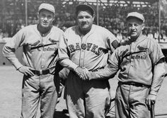St. Louis Cardinals Dizzy Dean and Frank Frisch stand with Boston Braves Babe Ruth in 1934. (Sporting News Archives)