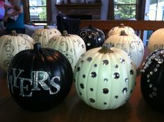 Rhinestoned pumpkins for a black and ivory fall wedding.