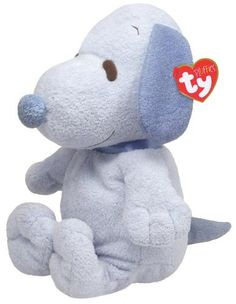 """11 """" Ty Beanie Baby Pluffies Puppy Dog """"Snoopy"""" Blue White Stuffed Animal Toy"""