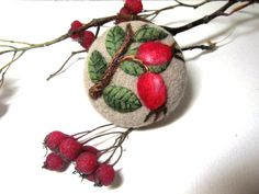 Needle felted brooch Wild Rose Brooch  Needle от FeltAccessories