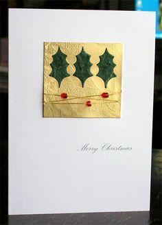 245. Holly themed and beaded Christmas card. #handmade #Christmas