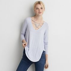 Soft & Sexy, Relaxed, flattering fit?, Length covers your back pockets and hits mid-zipper on your favorite jeggings?, Long sleeves, Cage front detail, Hi-low …