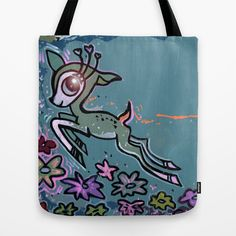Kawaii Leaping Deer Number One Tote Bag by Amy Chace - $22.00