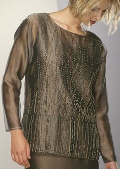 Beaded Vests Landing Silver Tunic - Ann Williamson Narrow bias strips of silk dupioni hand appliquéd with glass beads to layers of silk organza. Shown with a matching dress.