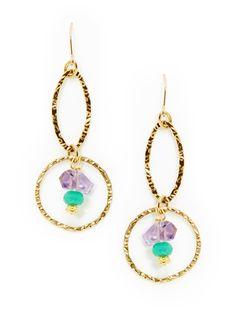 Amethyst & Amazonite Open Hoop Drop Earrings by Alanna Bess Jewelry at Gilt