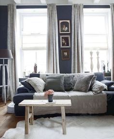 Living room interior decor dark walls eclectic modern organic