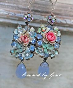 The most gorgeous enamel pieces with light blue flowers and rhinestones...these were salvaged from a vintage bracelet and layered with the