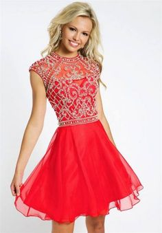 Beaded High Neck Short Red Homecoming Dress Jovani 21475