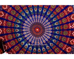 Hippie Mandala Peacock Tapestry Bedspread. #peacocktapestry #round #indiantapestry #mandala #hippie #bedding #boho #onlinestore