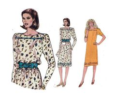80s Dress Pattern Straight Skirt Yoke Buttoned by HoneymoonBus, $9.99