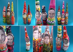 paper mache gnomes...  Frickin' love it! Could take it a step further and collage on some little hands or maybe use pipe clears to create posable arms.  Awesome!