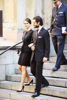 Prince Carl Philip and his fiancé, Sofia Hellqvist, leaving the Cathedral of Stockholm after the opening ceremony for the opening of Swedish Parliament.