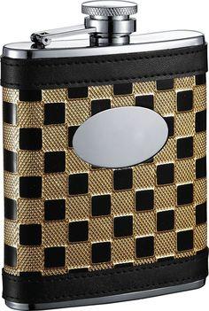 Visol Ramses Gold & Black Checker Stainless Steel 6oz Hip Flask