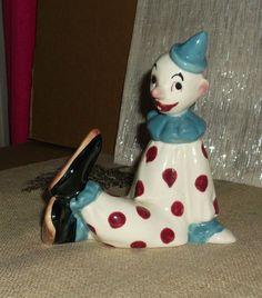 Vintage Mid Century Glazed Ceramic Clown Figure Unmarked Gentle Use $24.99 Ebay