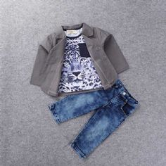 """""""Mile High"""" Short Sleeve Tiger Pattern T-Shirt + Buttoned Blazer + Bleach Wash Jeans Three Piece Suit For Boys Spring Summer, Summer Set, Casual Summer, Three Piece Suit, 3 Piece, Bleach Wash, Boys Suits, Smart Casual, Summer Collection"""