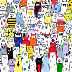 Items similar to Cat art limited edition print - 'Pick and Mix' cats crowd scene on Etsy Collage Kunst, Cat Drawing, Limited Edition Prints, Cats And Kittens, Kitty Cats, Crazy Cats, Doodle Art, Cat Art, Art Lessons