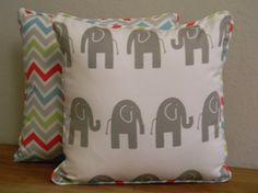 Handmade Multi-Color Chevron and Grey Elephant Pillow Cover via Etsy