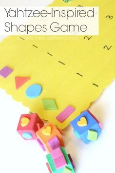 Fun diy shapes game for preschoolers; make this fun yahtzee-inspired game with foam! Yahtzee Game, Dice Games, Preschool Learning Activities, Shape Activities, Articulation Activities, Therapy Activities, Toddler Activities, Writing Games, Printable Board Games