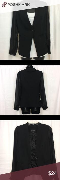 Jennifer Hudson Blazer, sheer sleeves Size XXS V-neckline, chiffon sleeves with buttoned cuffs Semi-fitted Machine wash, tumble dry Jennifer Hudson Collection Jackets & Coats Blazers