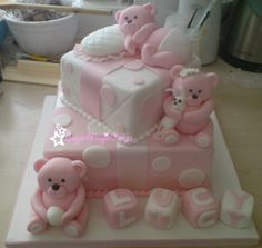 Cute teddy bears christening cake xx