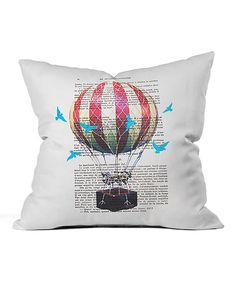 Love this Air Balloon with Blue Birds Throw Pillow by DENY Designs on #zulily! #zulilyfinds