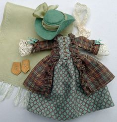 Cotton & Silk Robe a l'Anglais Outfit for Hitty Dolls by Islecroft, $245.00