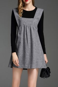Zyym Black/grey Stripe Pinafore Dress With Tee | Mini Dresses at DEZZAL Click on picture to purchase!