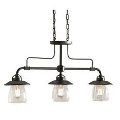 allen + roth 36-in W Edison Style 3-Light Mission Bronze Island Light with Clear Shade