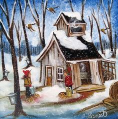 Pictures To Paint, Art Pictures, Winter Painting, Drawing Projects, Country Art, Imagines, Beautiful Paintings, Pretty Pictures, Cat Art
