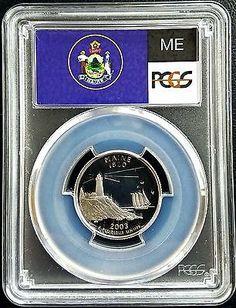 Silver 2003-S 25c Proof Maine State Quarter PCGS PR69 DCAM Gem Coin Flag Label