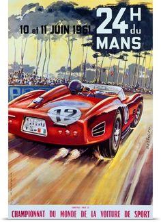 24 H du Mans, Championnat Du Monde, Vintage Poster. Bring some classic cool into your home...