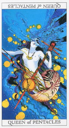 Love and Mystery Tarot by Yoshitaka Amano: Queen of Pentacles
