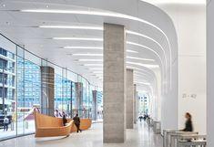 CME Center — Hall + Merrick Office Building Lobby, Office Lobby, Light Architecture, Interior Architecture, Cloud Office, Zaha Hadid Design, Office Ceiling, Office Entrance, Lobby Interior
