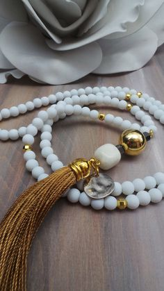White and gold tassel necklace. Gold tassel necklace. Long beaded white and gold necklace. Boho necklace. Bohemian tassel necklace.