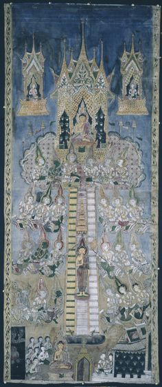 Painting of the Buddha's descent from Tavatimsa Heaven. Painted by Sa-at. 1800s, Thailand. Pigment on textile and paper. 1959,1010,0.7. Funded by the Brooke Sewell Permanent Fund.