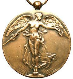 Antique Art Nouveau Victory Angel of WWI Bronze Art Medal Pendant by Paul Dubois