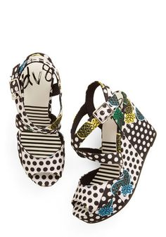 Ooh-La-Luau Wedge in Piña Colada by Dolce Vita - Woven, Polka Dots, Party, Cocktail, Girls Night Out, Spring, Summer, High, Best, Wedge, Str...