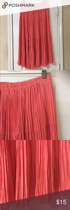 "Long Coral Broomstick Pleated Skirt Long Coral Broomstick Pleated Skirt. Great condition! Such a pretty color for spring & summer. Unlined polyester. Not sheer. Waist 28""-40"", length 33"". Great with cowboy boots, wedges or sandals. Boho, soho, hippie, gypsy, western, peasant,Coachella. Designs By Julia Skirts Midi"