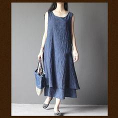 blue layered cotton summer dress long maxi sundress